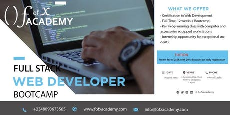 12 WEEKS FULL-STACK WEB DEVELOPER AUGUST BOOTCAMP tickets