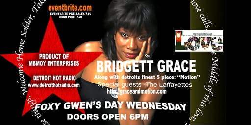 "Bridgett Grace  at Aretha's Jazz Cafe' - ""Foxy Gwen's Day Wednesdays"""