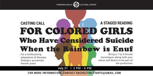 """Auditions for a Staged Reading of """"For Colored Girls"""""""
