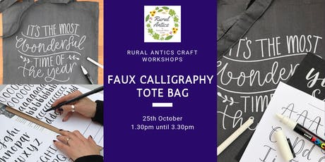 Faux Calligraphy Tote Bag Workshop tickets