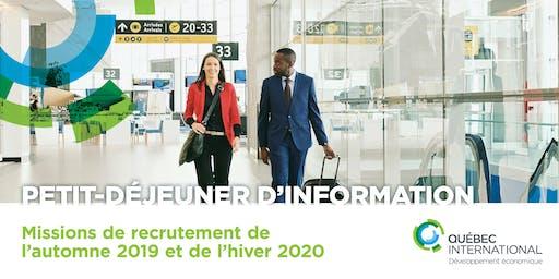 Petit-déjeuner d'information sur les missions de recrutement de l'automne 2019 et hiver 2020