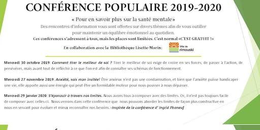 SMQ-BSL :Conférence populaire: Anxiété, sois mon invitée!