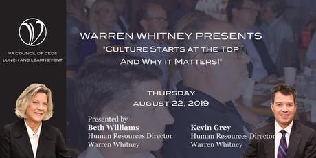 Lunch & Learn:  Culture Starts at the Top And Why it Matters! tickets