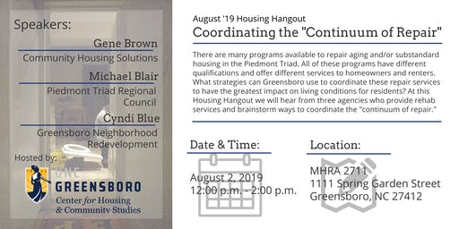 "Coordinating the ""Continuum of Repair"" - August Housing Hangout"