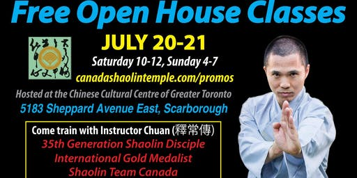 Shaolin Kung Fu Free Open House Classes