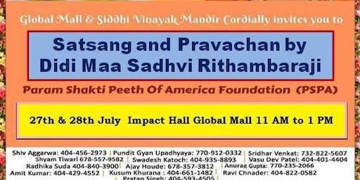 FREE: Satsang and Pravachan with Didi Maa Sadhvi Ritambhara ji