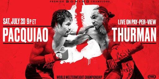 Boxing Pacquiao vs Thurman @ Straw Hat Pizza - Alameda