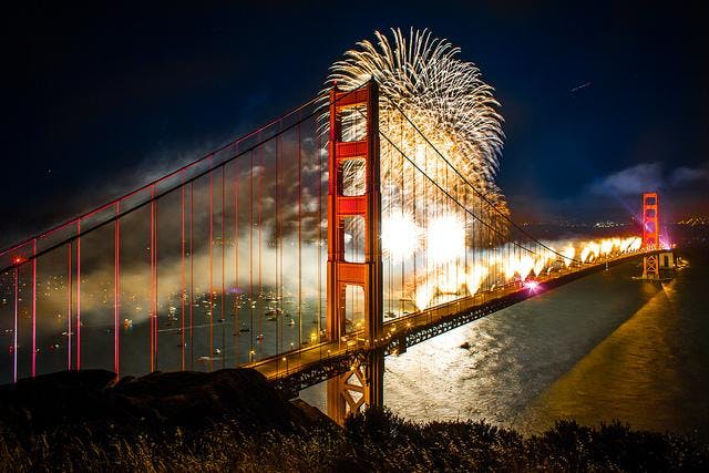 New Years Eve Fireworks Sail on San Francisco Bay