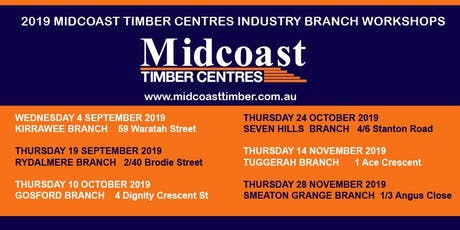 Midcoast Timber Centres Industry Workshops - 2 CPD Points tickets