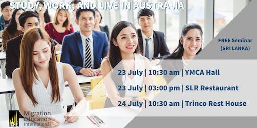 FREE INFO SESSION SRI LANKA – STUDY, WORK, LIVE IN AUSTRALIA