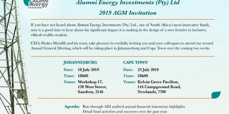 Alumni Investments 2019 AGM Invitation.  tickets