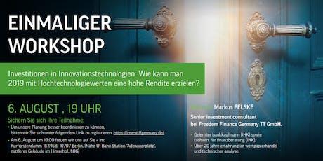 EINMALIGER WORKSHOP: Investitionen in Innovationstechnologien tickets