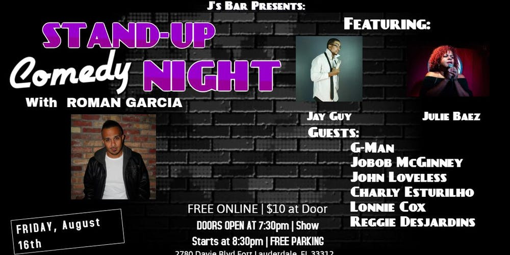 Comedy Night with Ramon Garcia at J's Bar Tickets, Fri, Aug 16, 2019