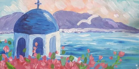 Paint'n'Pints™ Santorini Painting Class with Beer in Milton tickets