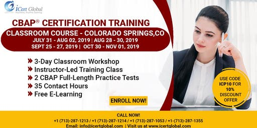 CBAP-Certified Business Analysis Professional™ Certification Training Course in Colorado Springs, Co, USA.