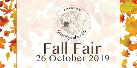 "Fairfax Genealogical Society 16th Annual Fall Fair ""Are You a Hare or a Tortoise?"" Sharon Cook MacInnes, Ph.D., C.G. tickets"