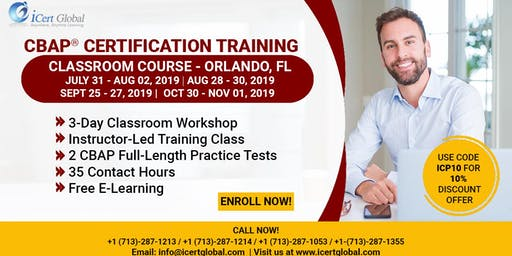 CBAP-Certified Business Analysis Professional™ Certification Training Course in Orlando, FL, USA.