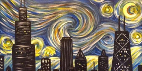 Paint 'N Sip Chicago Skyline Starry Night - Van Gogh like- BYOB tickets