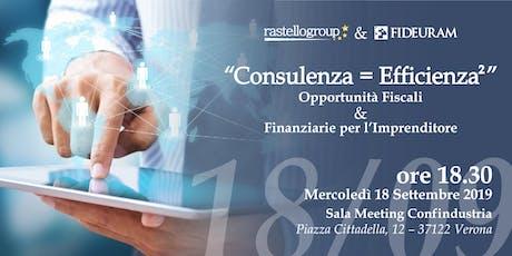 """"""" Consulenza = Efficienza² """" biglietti"""