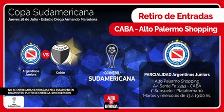 PARCIALIDAD ARGENTINOS JRS. - PARA RETIRAR EN ALTO PALERMO - ARGENTINOS vs COLÓN entradas