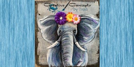 Elephant Slate or Wooden Board Paint Night tickets