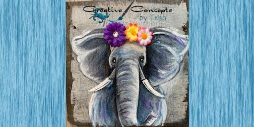 Elephant Slate or Wooden Board Paint Night