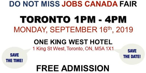 Free: Toronto Job Fair - September 16th, 2019