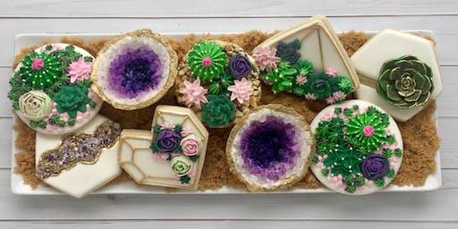 Succulent/Geode/Fault-line Intermediate Cookie Decorating Class - Spring Hill