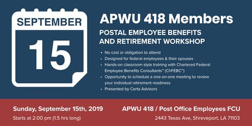 APWU Local 418 Retirement Workshop in Shreveport, LA