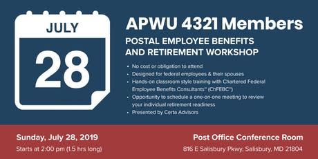 APWU Local 4321 Retirement Workshop in Salisbury, MD tickets
