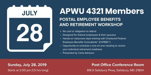 APWU Local 4321 Retirement Workshop in Salisbury, MD