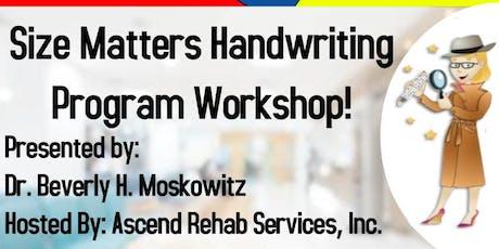 Size Matters Handwriting Program Workshop/School-Based Strategies for OTs tickets