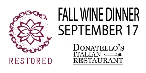 Fall Wine Pairing with Heavy Appetizers (Fundraiser for Restored, Inc.)