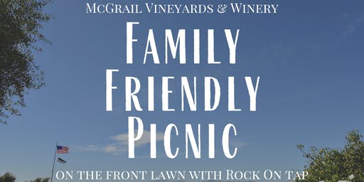 Family Friendly Picnic on the Front Lawn with Rock On Tap