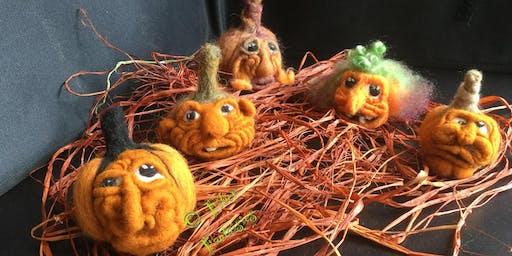 Ever want to stab a pumpkin? AKA Needle felt your own pumpkin for Halloween
