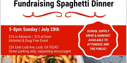 Spaghetti Fundraiser and Back to School Night