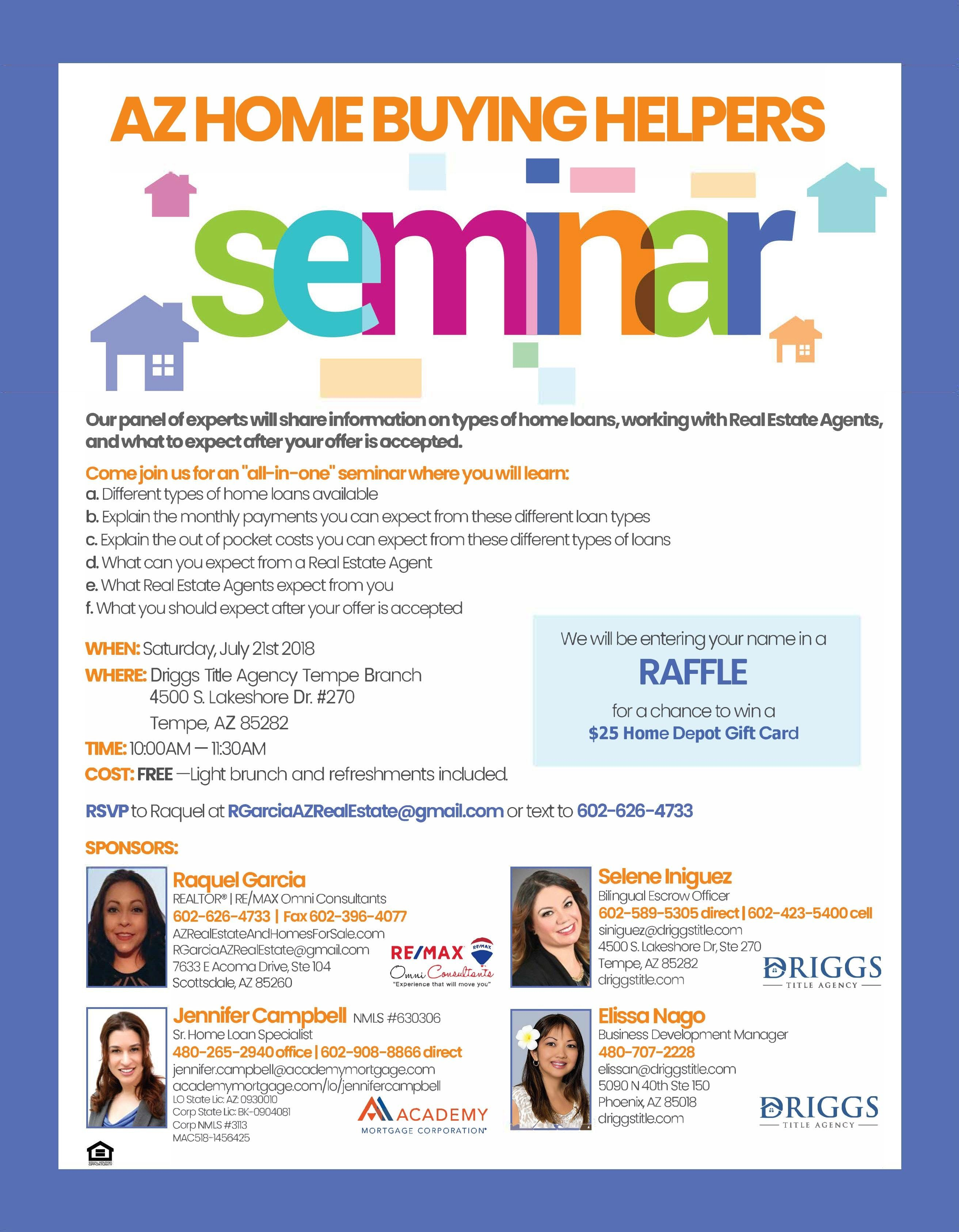 Home Buying Helpers Seminar, August 3rd 2019