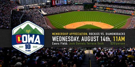 COWA 2019 Member Appreciation Rockies Game tickets