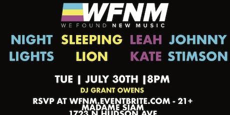 WFNM 7/30: NIGHT LIGHTS, SLEEPING LION, LEAH KATE, JOHNNY STIMSON tickets