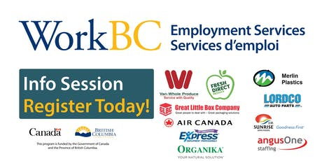 Vancouver North East WorkBC Job Fair - Careers in the Warehouse, Production and Aviation  tickets