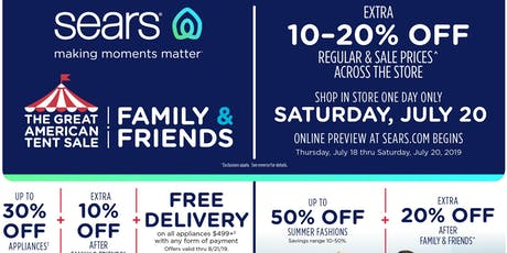 SEARS: Family & Friends ONE DAY ONLY! Extra 20% off sale & regular prices! tickets