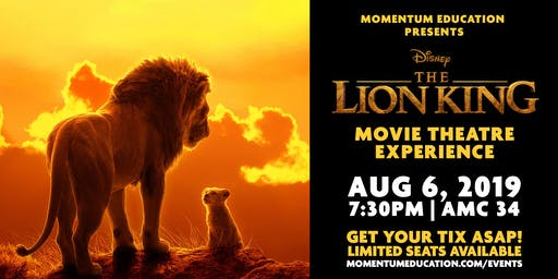 """*SOLD OUT* Momentum presents """"The Lion King"""" Movie Night Theatre Experience"""