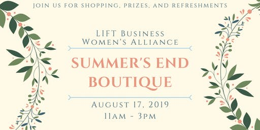 Summer's End Boutique Shopping Event 2019