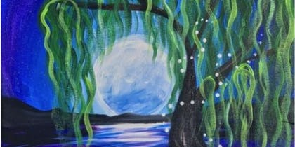 Paint and Sip with a Twist! Masterpiece and Messages - Full Moon Willow Tree