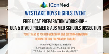 Free UCAT & Med Pathways Workshop for Westlake Boys & Girls (8/8) tickets
