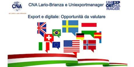 Export e digitale opportunità da valutare - serata informativa per le PMI biglietti