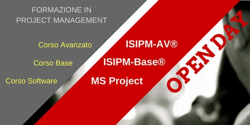 OPEN DAY GRATUITO DI PRESENTAZIONE PER I CORSI DI FORMAZIONE IN PROJECT MANAGEMENT