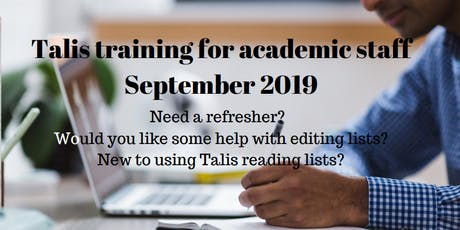 Talis reading list training - session 3 tickets