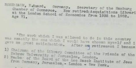 In the archives: Eduard Rosenbaum Émigré and Librarian