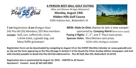 4 Person Best Ball Golf Outing sponsored by Quad City Plus 60 tickets